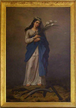 "It can be deduced from the testimony of Miss Sofia Mècusson, who having asked him during confession for an image of Saint Philomena, heard him reply: ""But in your church of Ligny, there is a picture that represents her. Go and have it copied. It is the most beautiful portrait of the Saint that I know."""